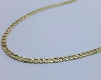 """10K Yellow Gold 2.5mm Concave Curb Cuban Link Chain Necklace 16""""- 26"""" inches"""
