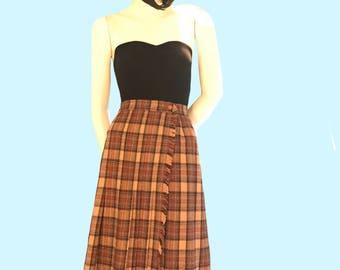Vintage plaid kilt skirt with drop pleat, The Villager 1960s