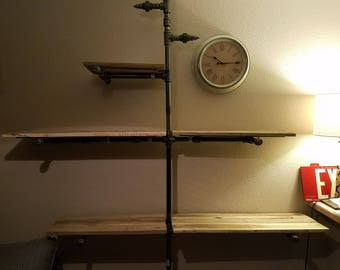 """Industrial Style Bookshelf (made of reclaimed pallet wood & galvanized 3/4"""" pipe)"""