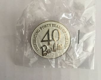Celebrating 40 Years of Dreams - 40 BARBIE - Vintage 1990s Barbie Collectible Pinback Pin Lapel Pin Button - Metal and Enamel - In Package