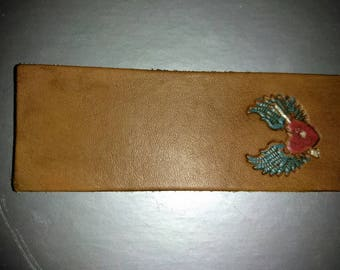 Flying heart leather bookmark