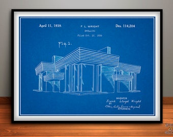 1938 Frank Lloyd Wright House Dwelling Patent Print, Architecture Gift, Building Art, Architect Gift, Engineering Design, Construction Art
