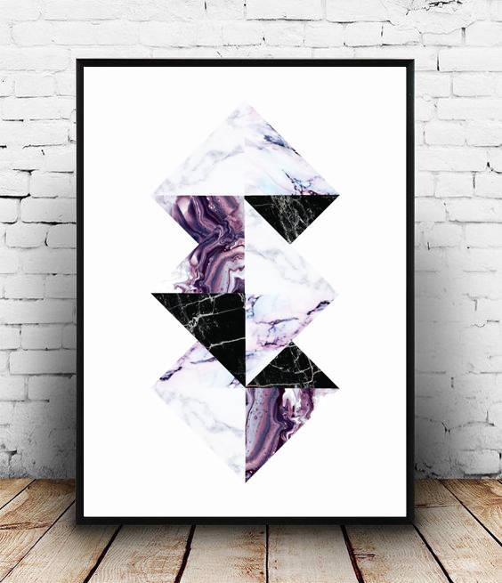 Purple;Geometric;Marble;Diamond;Wall Print;Home Decor;Wall Art ...