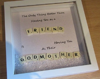 Personalised Scrabble Art - Handcrafted - Godmother Frame