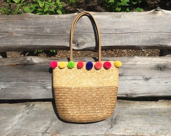 Pompom straw bag / straw tote bag / rainbow pompom embellishment / market bag / basket bag