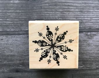 Sm. Snowflake Wooden Mounted Stamp
