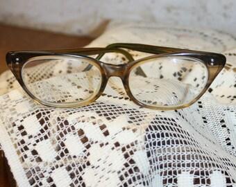 Vintage 1950s Horn Rim Womens Glasses Eyeglasses Tortoiseshell Amber Brown 50s Fifties Reading Glasses