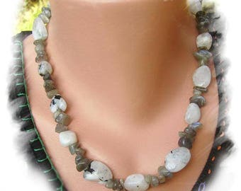 LABRADORITE and Moonstone NECKLACE Sterling Silver 925