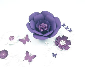 Large flowers purple. Large flowers wall decor. Nursery flowers decor. Large purple paper flower. Girls room decor.