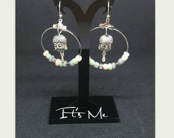 "Earrings ""Buddha and his tear under a pastel cascade"""