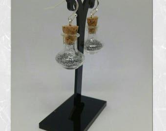 Vial bottle - Potion Silver earrings