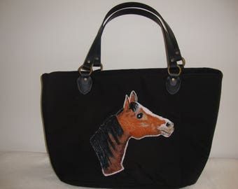 Horse,Chestnut,Bay,Bag,Handbag,leather handles, canvas weave 100% Polyester. foam interlining ,cotton interior lining,  fabric, tote, pets