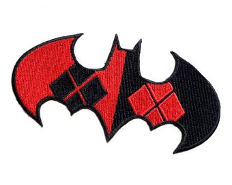 """FREE SHIPPING-Domestic-InspireMeByAudrey DC Comics Batman Harley Quinn Logo Embroidered Sew/Iron-on Patch/Appliquees 2""""X4"""""""