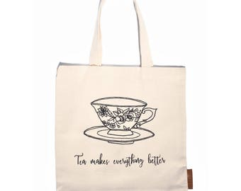 Tea cup 100% cotton, 12oz natural canvas tote bag. Ideal for a market bag, handbag, beach bag, shopping bag, grocery bag, library bag