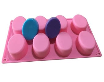 2x Silicone Mould with 8 filling rooms for perfectly shaped soap-pouring soap handmade-at home-gift