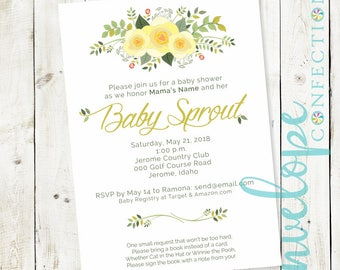 Neutral Floral Garden Party Baby Shower Invitation
