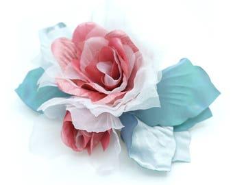 Brooch blue gray/pink/ivory taffeta, satin, organza fabric.