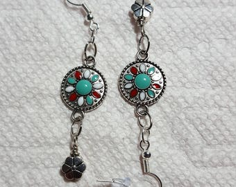 Silver Tone Dangle Earrings with Turquoise