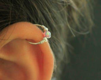 Opal Hoop Earring,cartilage hoop earring,gold helix earring,20g helix hoop,tiny cartliage hoop,thin helix hoop earring,18g cartilage hoop