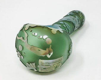 Sandblasted etched hand pipe spoon - Sea Life