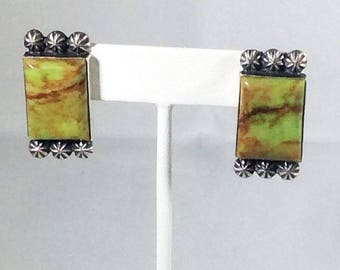 Southwestern Gaspeite Sterling Silver Earrings Post M & R Calleditto Navajo