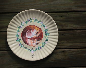 HOME DECOR PLATE: hand painted fox