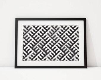 Geometric large wall art Horizontal wall art print Black and White Minimalist art print Instant download