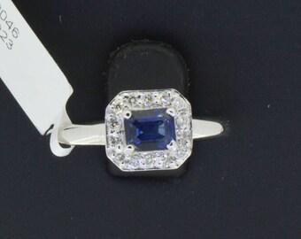 0.21 CT Round Cut Engagement Ring band set in Solid 14k White Gold Bridal, Wedding Set , Engagement Set, Wedding band, Blue Sapphire Ring