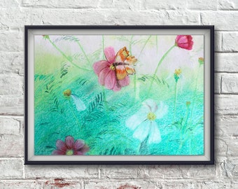 Painting of flowers and Butterfly
