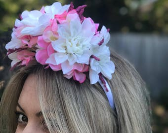 White, pink and purple flower crown... baby shower / hens party / bridal shower / bachelorette party / dahlias/ daisy/ fascinator