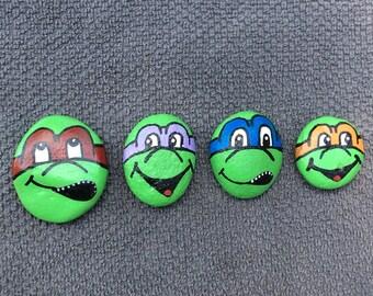 Set of four (4) ninja turtle hand painted rocks
