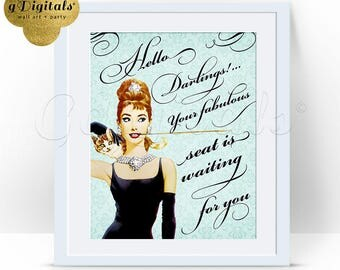 Breakfast at Tiffany's Themed Welcome Sign, Audrey Hepburn Party Signs, bridal shower, birthdays, party 8x10 {Arabesque-Pattern Blue}