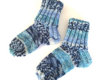 Baby and Toddler Random Striped Socks UK size 3.5 approx, hand knitted socks for boy or girl,