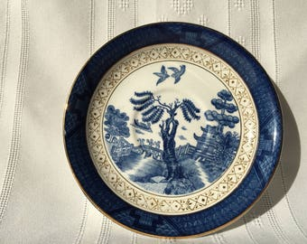 Blue Willow Salad Plate - Ironstone Ware - Made In Occupied Japan