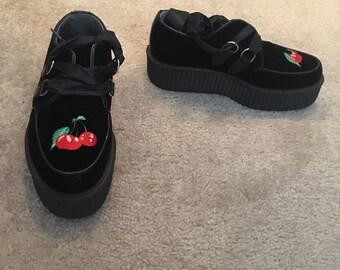 Black Velvet Cherry Tuk Creeper Shoes