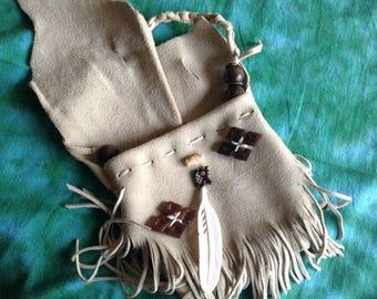 Soft leather Medicine bag necklace