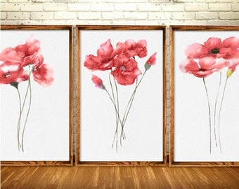 Red Poppy Art Print Poppy Painting Watercolor Illustration Set of 3 Bedroom Wall Decor Red Poppy Art Print Flower Abstract Minimalist Art