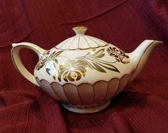White-Gold-Sadler-Teapot-England-Servingware-Glassware