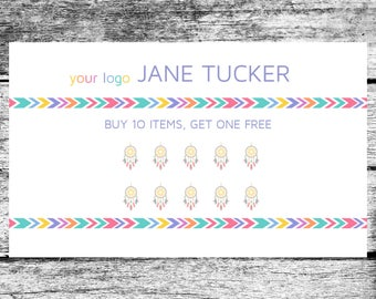LuLaRoe Inspired Dream Catcher Loyalty Punch Card Home Office Approved Colors Fonts
