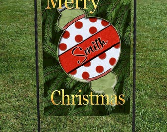 "Personalized Christmas Ornament Garden Flag, White Red Polka Dots, Christmas Yard Art, 12""x18"", Christmas Decor,"
