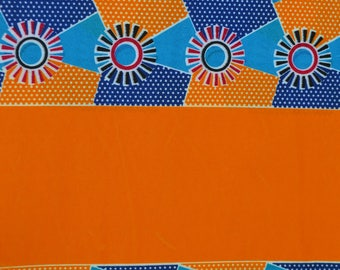 African Print/ Kente/ 6 Yards/Orange and Blue