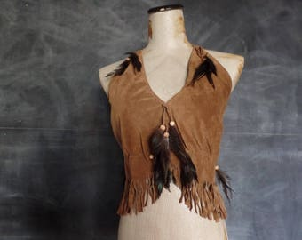 VTG Brown Suede Leather Halter Top with Feathers/ Festival/ Boho