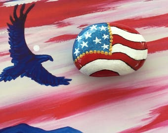 Patriotic American Flag Hand Painted Rock-  Labor Day, Memorial Day, Veterans Day, 4th of July (amerflag2)