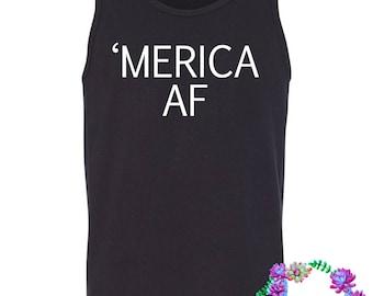 MERICA AF black tank - 4th of july - july fourth top - mens