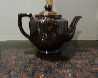 Vintage Brown Floral Tea Pot-Japan