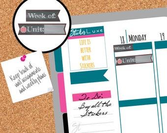 Teacher planner stickers, Unit planner,functional sticker,Assignment planner,School Planner dates,School stickers set, Chalkboard stickers