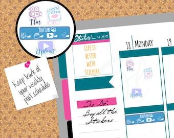 Vlogger stickers, Vlogger checklist,Filming Planner stickers, Record, upload, edit sticker,ECLP, Happy Planner