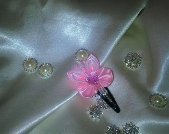 pink flower hair clip Butterfly made with Heart Rhinestone pink and white satin ribbon