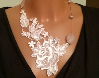 the Choker necklace made with pink lace, rose quartz bead, iridescent beads pink and matching earrings