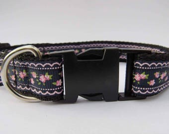 Shabby chick floral dog collar